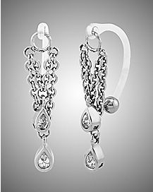 Double Chain Teardrop Clit Ring - 14 Gauge