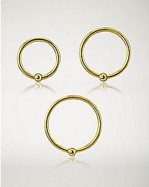 Hoop Nose Rings 3 Pack - 18 Gauge