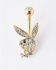 Goldplated Playboy Bunny CZ Belly Ring - 14 Gauge