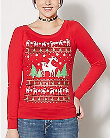 Humping Reindeer Fleece Sweatshirt