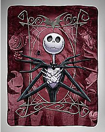 Maroon Nightmare Before Christmas Fleece Blanket