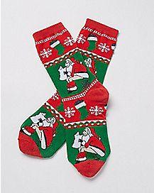 Lump of Coal Santa Crew Socks