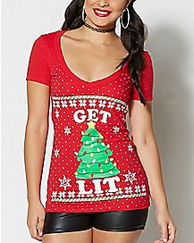 Get Lit Christmas T Shirt