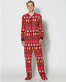 Adult Holiday Get Lit Footie Pajamas