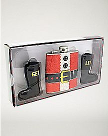 Santa Get Lit Flask and Shot Glass Set