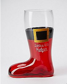 Santa's Little Helper Boot Glass