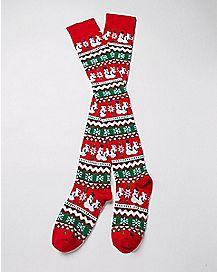 Lovin Snowpeople Thigh High Socks