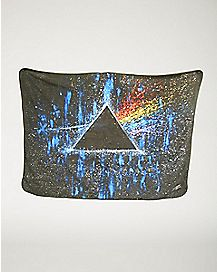 Dark Side of the Moon Pink Floyd Gray Fleece Blanket