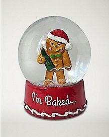Drunk Gingerbread Man Snow Globe
