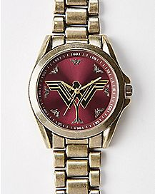 Burgundy Wonder Woman Bracelet Watch - DC Comics