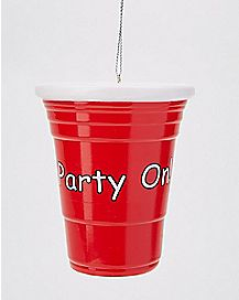 Party On Red Cup Ornament