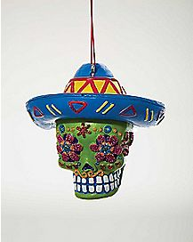 Sugar Skull Ornament - Green