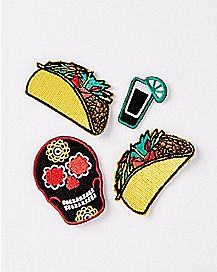 Decorated Skull Patch Set
