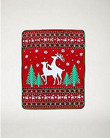 Humping Reindeer Fleece Blanket
