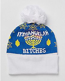Its Hanukkah Bitches Pom Beanie Hat