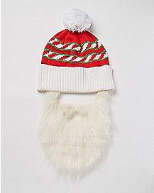 Santa Beard Pom Beanie Hat