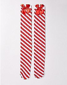 Candy Cane Bow Thigh High Stockings
