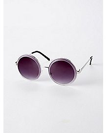 Purple Lens Metal Round Sunglasses