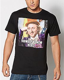 New Here Willy Wonka T shirt