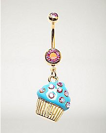14 Gauge Cupcake Barbell Belly Ring- Gold, Pink & Blue
