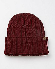 Ribbed Beanie Hat - Burgundy