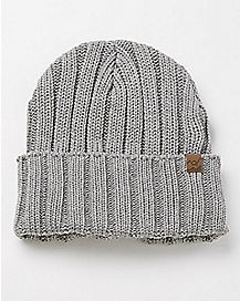 Ribbed Cuff Beanie - Grey