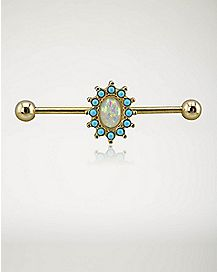 Torqouise-Effect Opal-Effect Stone Industrial Barbell- 14 Gauge