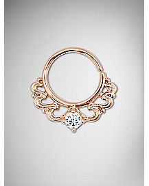 Cz Triangle Seamless Septum Nose Ring - 16 Gauge