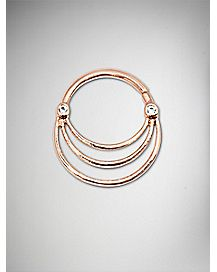 16 Gauge Rose Gold Triple Hoop Seamless Septum Ring