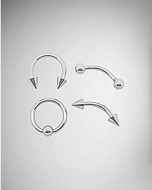 Cz Multi Cruved, Captive, Horseshoe Barbell Rings 4 Pack-Silver - 14 Gauge