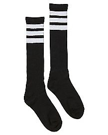 Athletic Stripe Knee High Socks - Black and White