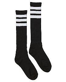 Athletic Stripe Knee High Socks - Black and White