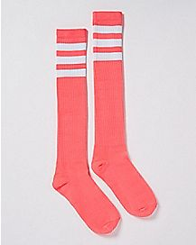 Pink and White Striped Athletic Knee High Socks
