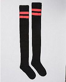 Black Pink Stripe Thigh High Socks