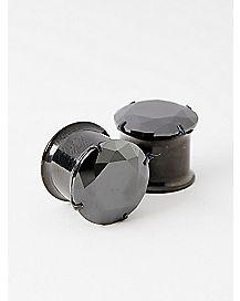 Black Gem Double Flare Plugs