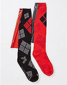 Caped Harley Quinn Knee High Socks
