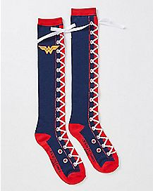 Lace Up Wonder Woman Knee High Socks - DC Comics