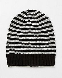 Gray and Black Striped Slouchy Beanie