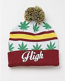High Striped Pom Beanie Hat