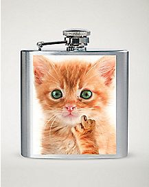 Kitten Middle Finger Flask - 8 oz.