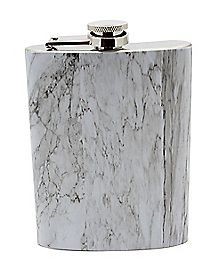 Black and White Marble Flask - 8 oz.