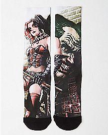 Harley Quinn Joker Split Crew Socks - DC Comics