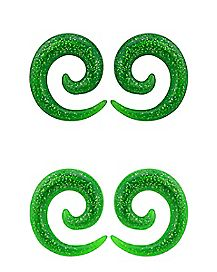 Green UV Spiral Ear Tapers