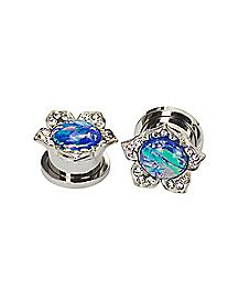 Opal-Effect CZ Flower Plugs