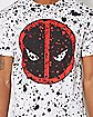 Deadpool White Splatter T Shirt - Marvel Comics