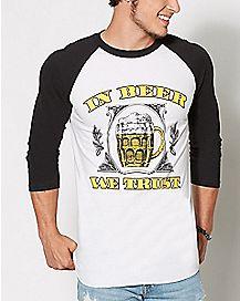 In Beer We Trust Raglan T Shirt