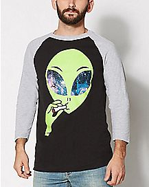 Alien Smoking Raglan T Shirt