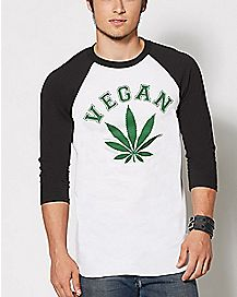 Vegan Pot Leaf Raglan T Shirt