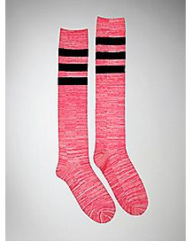 Marbled Knee High Socks - Hot Pink
