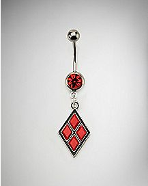 Red CZ Harley Quinn Belly Ring - 14 Gauge